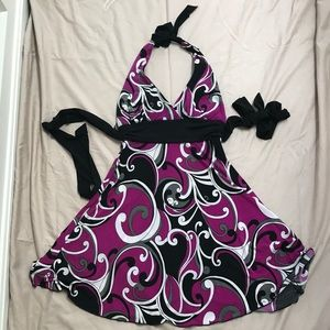 Love Tease Black Purple White Halter Dress